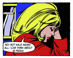 Pop art comic of frustrated young woman dieting