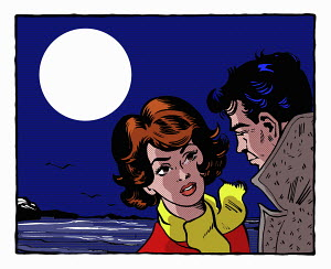 Pop art comic of couple by the sea at night