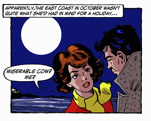 Pop art comic of couple arguing by the sea at night