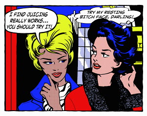 Pop art comic of woman advising angry friend