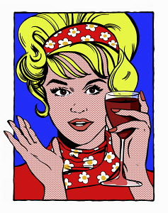Pop art comic of woman holding glass of red wine