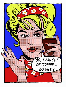 Pop art comic of woman holding glass of red wine talking