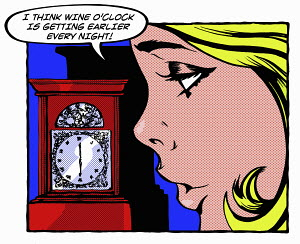 Pop art comic of young woman looking at the clock thinking about drinking wine