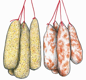 Sausages dangling on string