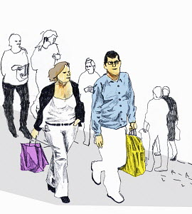 Man and woman walking with shopping bags