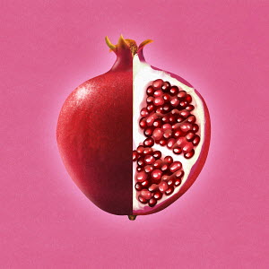 Bisected pomegranate showing cross section