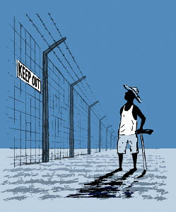 Man standing at barbed wire fence with keep out sign
