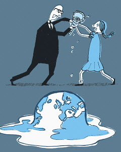 Businessman and girl fighting for tool above melting earth