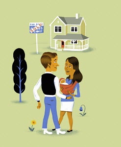 Young family buying new home