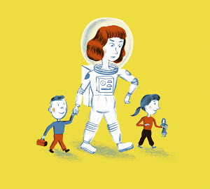 Mother in space suit walking with son and daughter