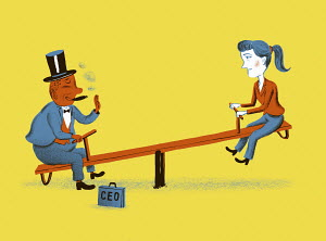 CEO and woman on imbalanced seesaw