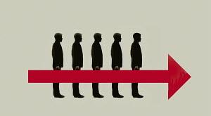 Five businessmen holding red arrow together - Five businessmen holding red arrow together