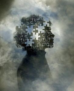 Jigsaw puzzle inside of boy's head