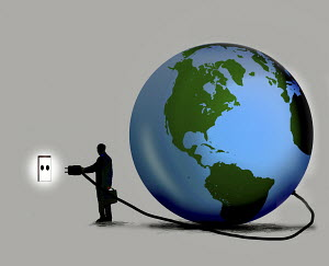 Businessman connecting globe to socket