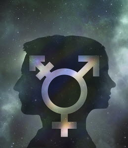 Male and female symbol uniting to one inside male and female head - Male and female symbol uniting to one inside male and female head