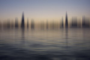 Blurred motion abstract cityscape at the waterfront - Blurred motion abstract cityscape at the waterfront