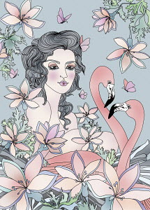 Young woman, flamingos, butterflies and flowers