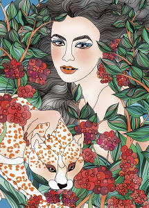 Young woman, leopard and red berries