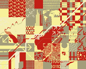 Abstract collage with arrows, binary code and world map
