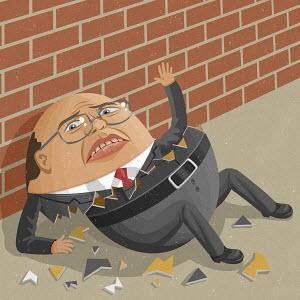 Egg-shaped businessman breaking up