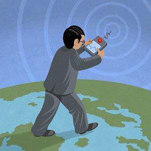 Businessman walking on planet earth following signals form dollar radio control