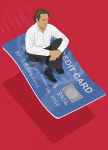 Man flying on credit card