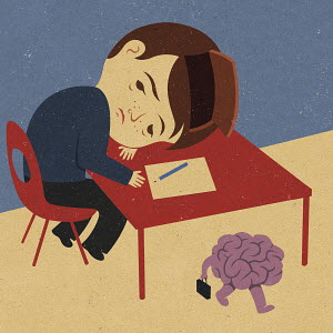 Man resting head on table with brain passing by