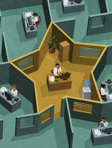 Man in office working in star-shaped cubicle