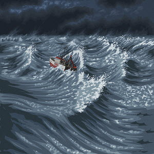 UK boat in stormy sea