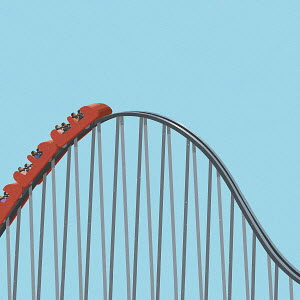 People in a rollercoaster