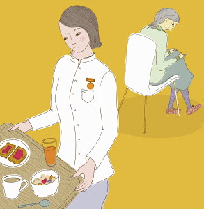 Nurse carrying tray with food away from old woman in background