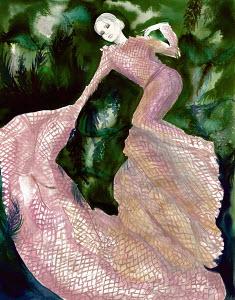 Woman wearing elegant dress in natural setting