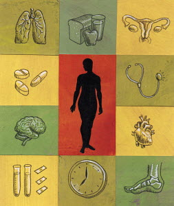 Woman surrounded by medical and health symbols