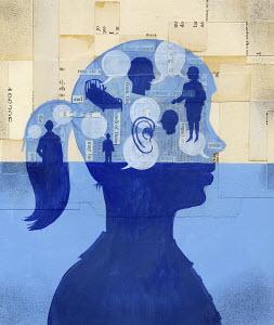 People talking inside teenager's head