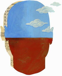 Sky with clouds and text with figures inside man's head
