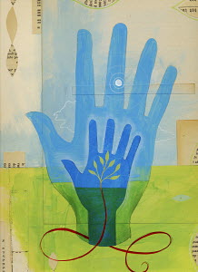 Collage with hands, text and growing seedling