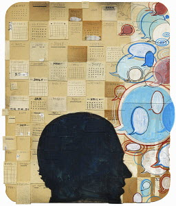 Collage with man's head, calendar and lots of speech bubbles