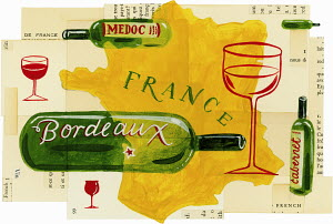 Map of France with bottles and glasses of wine