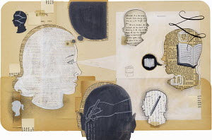 Collage with heads, books and writings