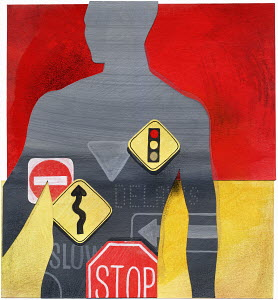 Traffic warning signs inside man's silhouette