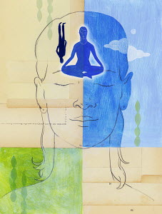 Serene woman with yoga image inside her head