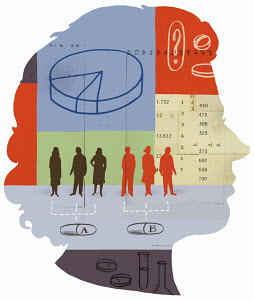 Group of people, numbers and pie chart inside woman's head