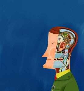 Man with cables inside his head