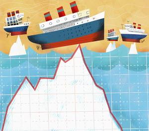 Ships on peaks of icebergs