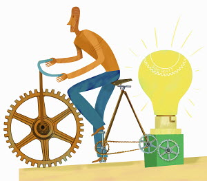 Man riding bicycle to illuminate light bulb
