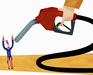 Uncle Sam being threatened by fuel nozzle