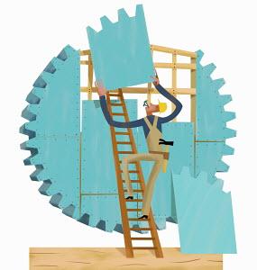 Builder assembling cogwheel