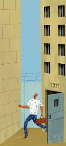 Man leaving jail