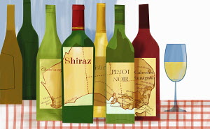 Variety of wine bottles with map of Australia
