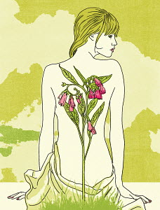 Woman with flower on her back